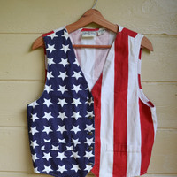 Vintage 1980s Stars and Stripes America Vest Red White & Blue Patriotic USA Vest by Rosettes