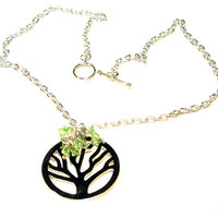 Tree of Life Necklace - Peridot Swarovski Crystals on Chain
