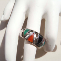 Vintage Sterling Silver 925 Native American Style ring size 8