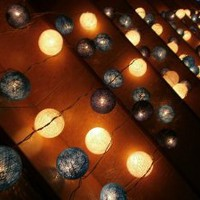 Amazon.com: Blue Mixed Set 35 of Cotton Balls String Lights Patio Wedding and Home Decorate By I Love Handicraft (35 Balls/set): Patio, Lawn &amp; Garden