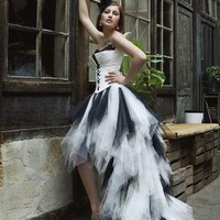 Black White Strapless Prom Party Ball Gowns Pageant Dress Wedding Bridal Gown AA