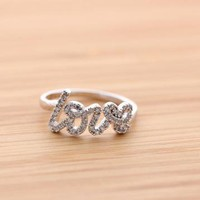handwritten LOVE ring with crystals in silver by BLESSINGBRIDE on Zibbet