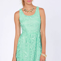 Herb Garden Party Mint Lace Dress