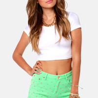 Mink Pink Cheeky Mint Green Studded Jean Shorts