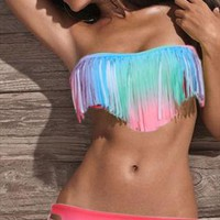 Rainbow Tassel Bikini from NuYouBoutique2013