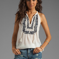 Joie Chutney Embroidery Tank in Porcelain/Dark Navy from REVOLVEclothing.com