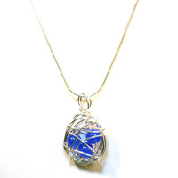 Blue Orbit Wire Wrap Necklace