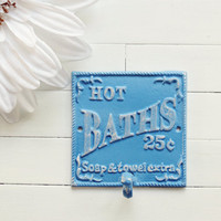 Bathroom Sign / Bathroom Decor / Metal Bath Sign / Baby Blue / Towel Hook / Bath Hook