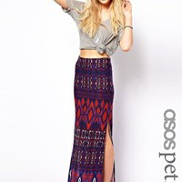 ASOS PETITE Maxi Skirt in Aztec Print at asos.com
