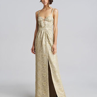 Burberry Prorsum Metallic Lace Keyhole Gown