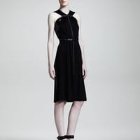 Bottega Veneta Snake-Trimmed Jersey Dress, Black