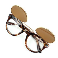 SakuraShop — Steampunk Flip Up Double Lens Print Sunglasses