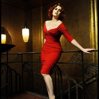 Monica Dress in Red Matte Jersey Knit | Pinup Girl Clothing