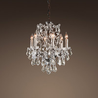 19th C. Rococo Iron &amp; Crystal Chandelier Small