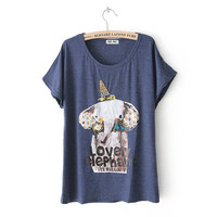 Rhinestone &amp; Rivet Crown Elephant Batwing Loose Tshirt