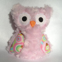 Pink Softie Plush Owl with bright colored wings