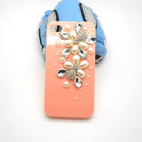 Handmade hard case for iPhone 4 & 4S: Bling pearls (customized are welcome)