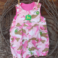 Baby Girl John Deere  Bubble Romper Pink Camo sizes 3 to 12 months