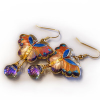 Cloisonne butterfly earrings, spring fashion, pink purple butterflies, cloisonne jewelry