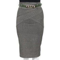 Amazon.com: Green Ladies Tweed High Waist Pencil Skirt with Belt: Clothing