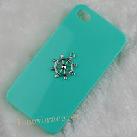 Mint Green rudder iphone case phone case iphone 4 case iphone 5 case rudder iphone case