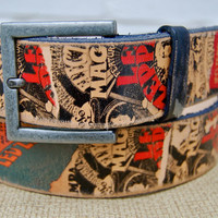Handmade leather belt  LED ZEPPELIN by WittyandCharming on Etsy