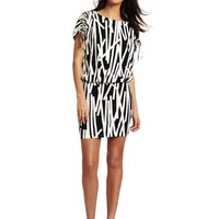 London Times Women's Matchstick Printed Blouson Dress
