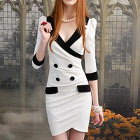 Sleeve dress in white lapel tight temperament models_Cute dresses_Dresses_Mili fashion Trade Co.Ltd