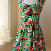 Dress With Tropical Flamingos in Turquoise and Pink / Handmade / Choose Your Size