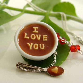 I Love You Romantic Alphabet Soup Necklace  Miniature by TheMenu