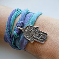 Silk Ribbon Wrist Wrap In Teal Seafoam and Purple by 443Jewelry