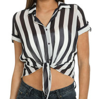 Tie Front Stripe Shirt | Shop Clearance at Wet Seal