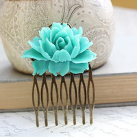 Blue Rose Comb Turquoise Rose Metal Hair Comb Teal Aqua Modern Bridal Wedding Spring Floral Shabby Chic Hair Accessories Antique Brass