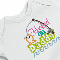 Onesuit Hooked on Daddy Bodysuit  for the Baby Embroidered
