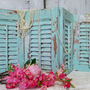 Robins egg blue shutters wooden four panel set hand painted Shabby chic distressed home decor  Anita Spero
