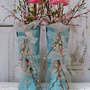 Light aqua cowboy boots shabby cottage ruffles and ribbon floral blossoms decorative home decor Anita Spero