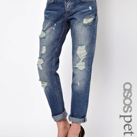ASOS PETITE Vintage Wash Slim Boyfriend Jeans at asos.com
