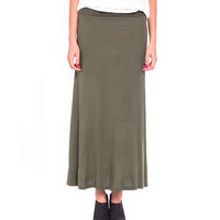 Solid Fold Over Maxi Skirt - 2020AVE