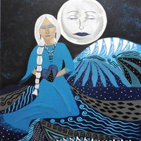 Guardian of the Dreamtime White Hair Woman and Moon Folk Art Print