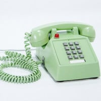 Vintage Phone Minty Seafoam Green Upcycled Hotel push button telephone