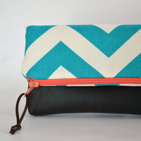 Vegan Leather Fold Over Clutch in Teal & White Chevron Bridesmaids Clutch Bridesmaid Wedding Gift Bridal Clutch Pouch Zippered Clutch