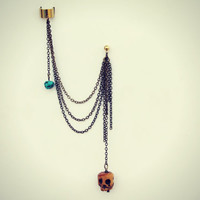 skull and turquoise ear cuff and earring, ear cuff with chains, skull earrings, turquoise earrings, gothic earrings, tribal earrings