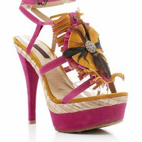 fringe feather platform $37.40 in FUCHSIA MUSTARD ORANGE TAN - New Shoes | GoJane.com