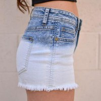 High Waisted Ombre Dye Denim Shorts with Five Pockets