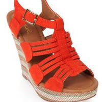 platform wedge with striped canvas wedge - 1000047046 - debshops.com