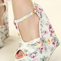 Ladies HighHeel Fashion Flower Wedge Evening Shoes