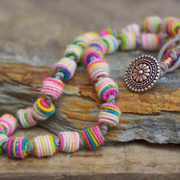 Multi color wrap bracelet necklace - colorful artisan boho