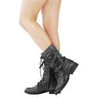 Diva Lounge Tina02 Black Military Mid Calf Boots and Womens Fashion Clothing & Shoes - Make Me Chic