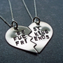 Best F&amp;cking Friends Necklaces - Hand Stamped BFF Split Heart Necklaces - Best Friends Forever - Nickel Silver - Mature Content