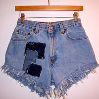 Patched Vintage High Waisted Denim Shorts